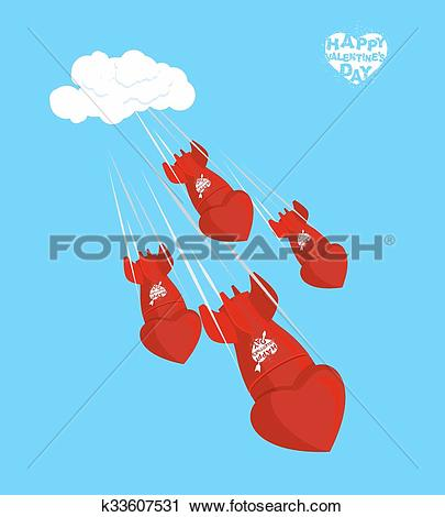 Clipart of Love bomb fly to land on February 14. Valentines day.