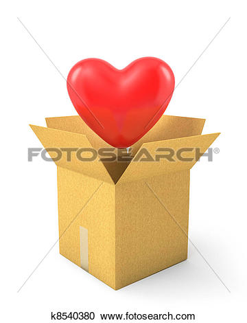 Stock Illustrations of Read heart fly out of carton box k8540380.