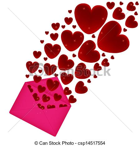 Clipart Vector of Hearts fly out of the envelope.