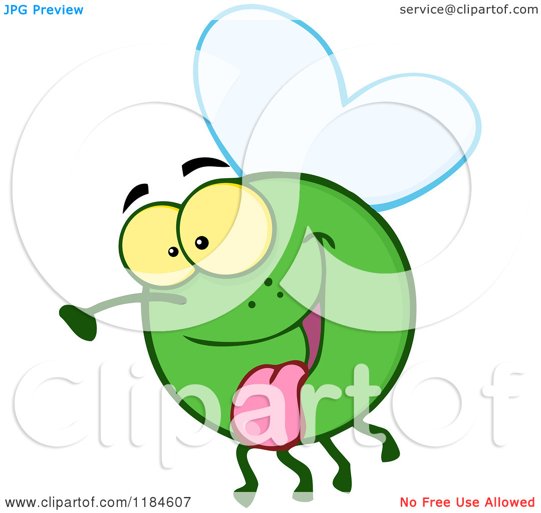 Cartoon of a Happy Green Fly Hanging Its Tongue out.