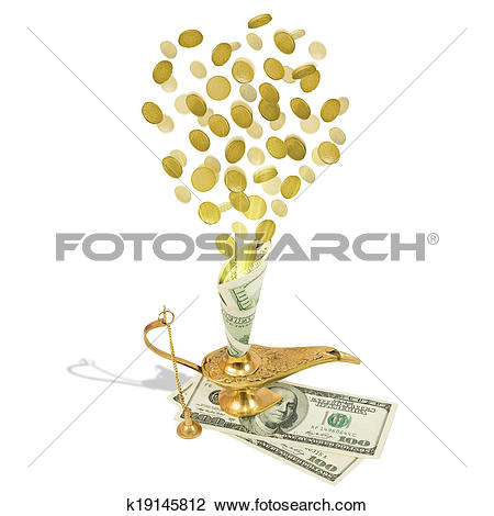 Clip Art of Money fly out of Aladdin's magic lamp k19145812.