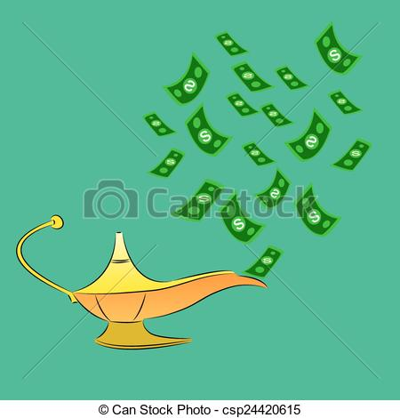 Vector Clip Art of Money fly out of Aladdin's magic lamp. Business.