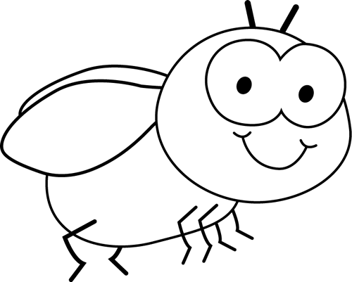 Black and White Fly Clip Art.