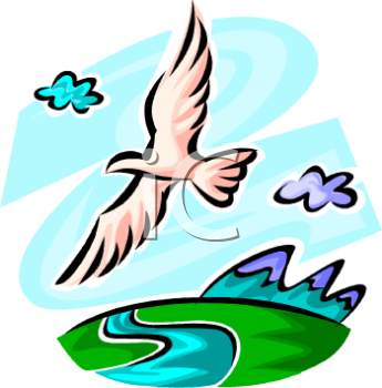 Birds flying over water clipart.