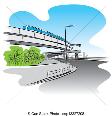 Vector Clipart of Road under overpass sky train bridge.
