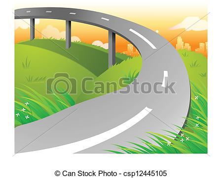 Vector Clipart of Overpass over Green Landscape.
