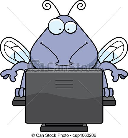 Bug virus fly computer internet monitor screen keyboard Vector.