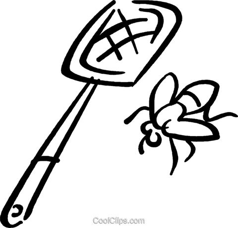 Fly swatter and fly Royalty Free Vector Clip Art illustration.