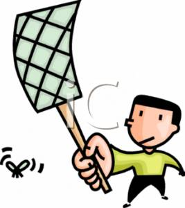 Clipart Picture of a Boy Swatting a Fly with a Flyswatter.