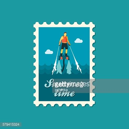 FlyBoard stamp. Summer. Vacation Clipart Image.