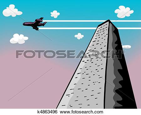Clip Art of Tower Flyby k4863496.