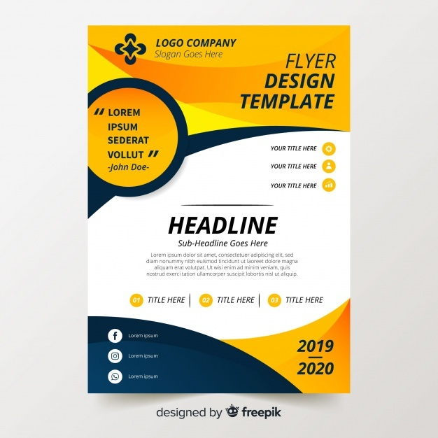 Free Colorful flyer template with flat design SVG DXF EPS PNG.