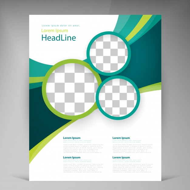 Vector abstract template design flyer, cover with turquoise and.