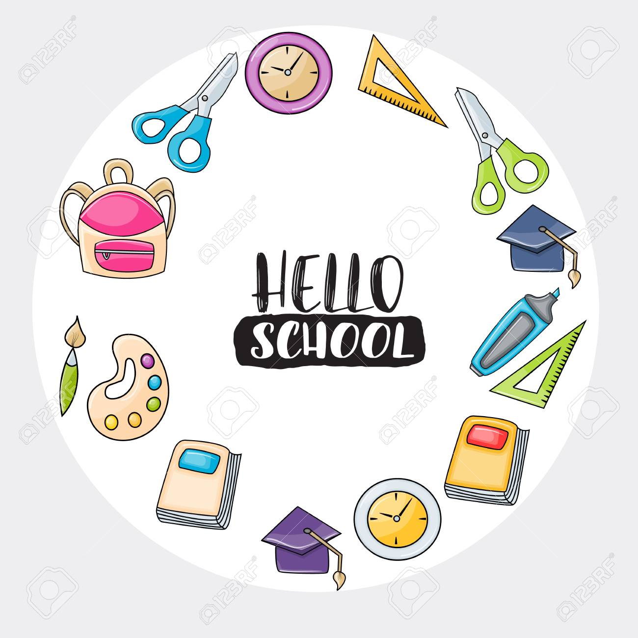 Hello school doodle clip art greeting card. Cartoon vector illustration...