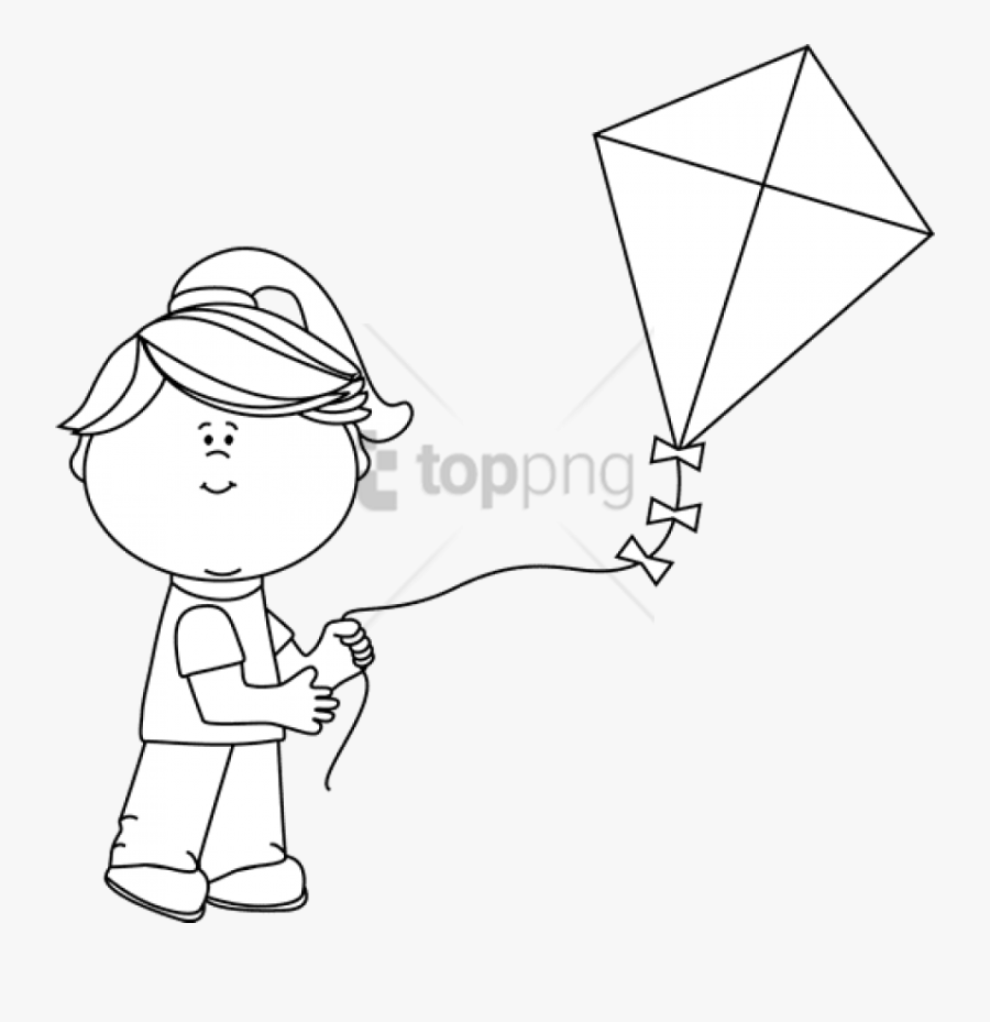 Free Png Black And White Girl Flying A Kite.