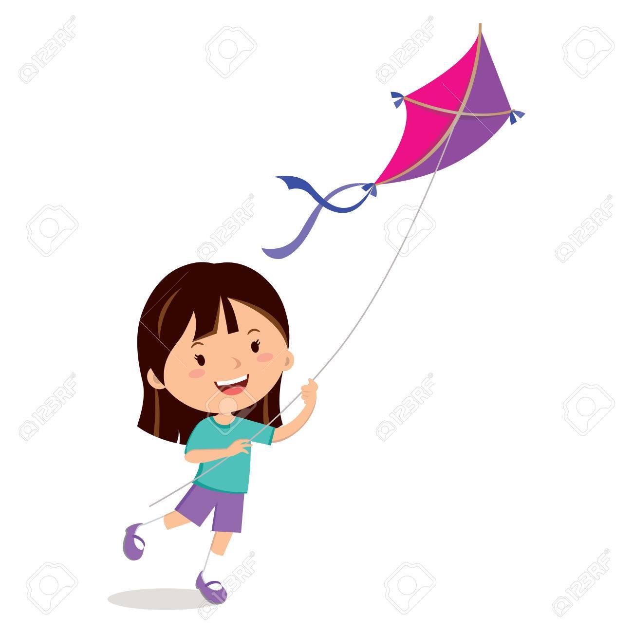 Girl Flying A Kite Clipart.