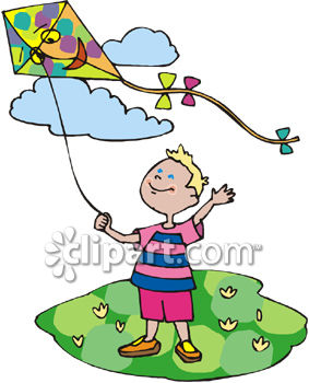 Little Boy Flying a Kite on a Sunny Spring Day.