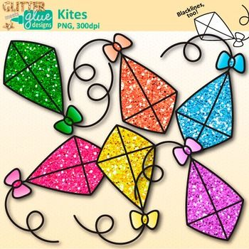Flying Kite Clip Art {Rainbow Glitter Graphics for Spring and.