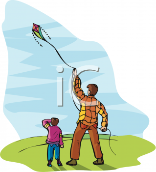 Clip Art Illustration of a Man and His Son Flying a Kite On a.