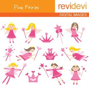 Clip art Pink Fairies (flying fairy, magic wand) clipart for.