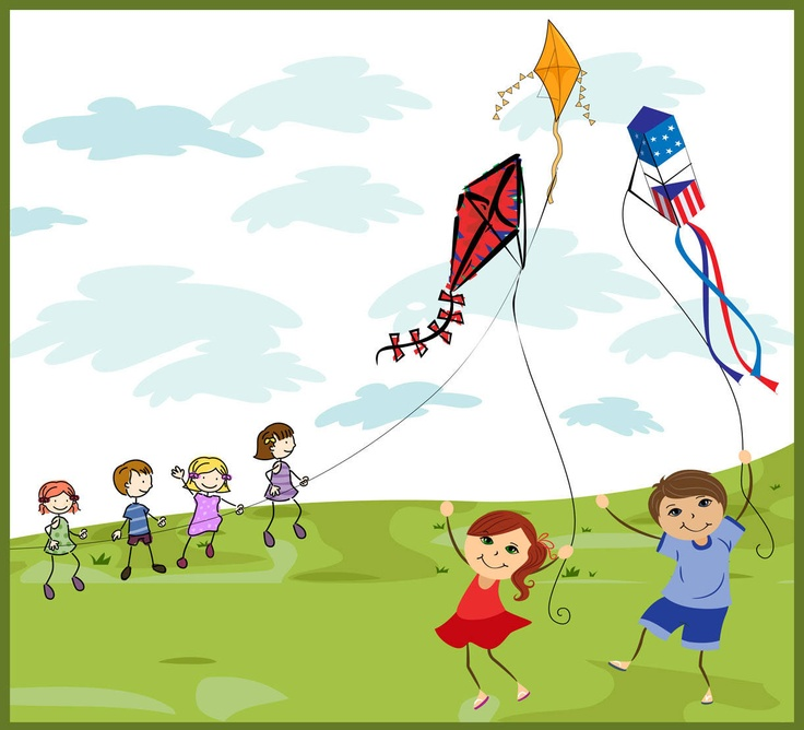 Flying a kite clipart.