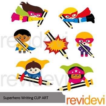 Superhero writing clip art.