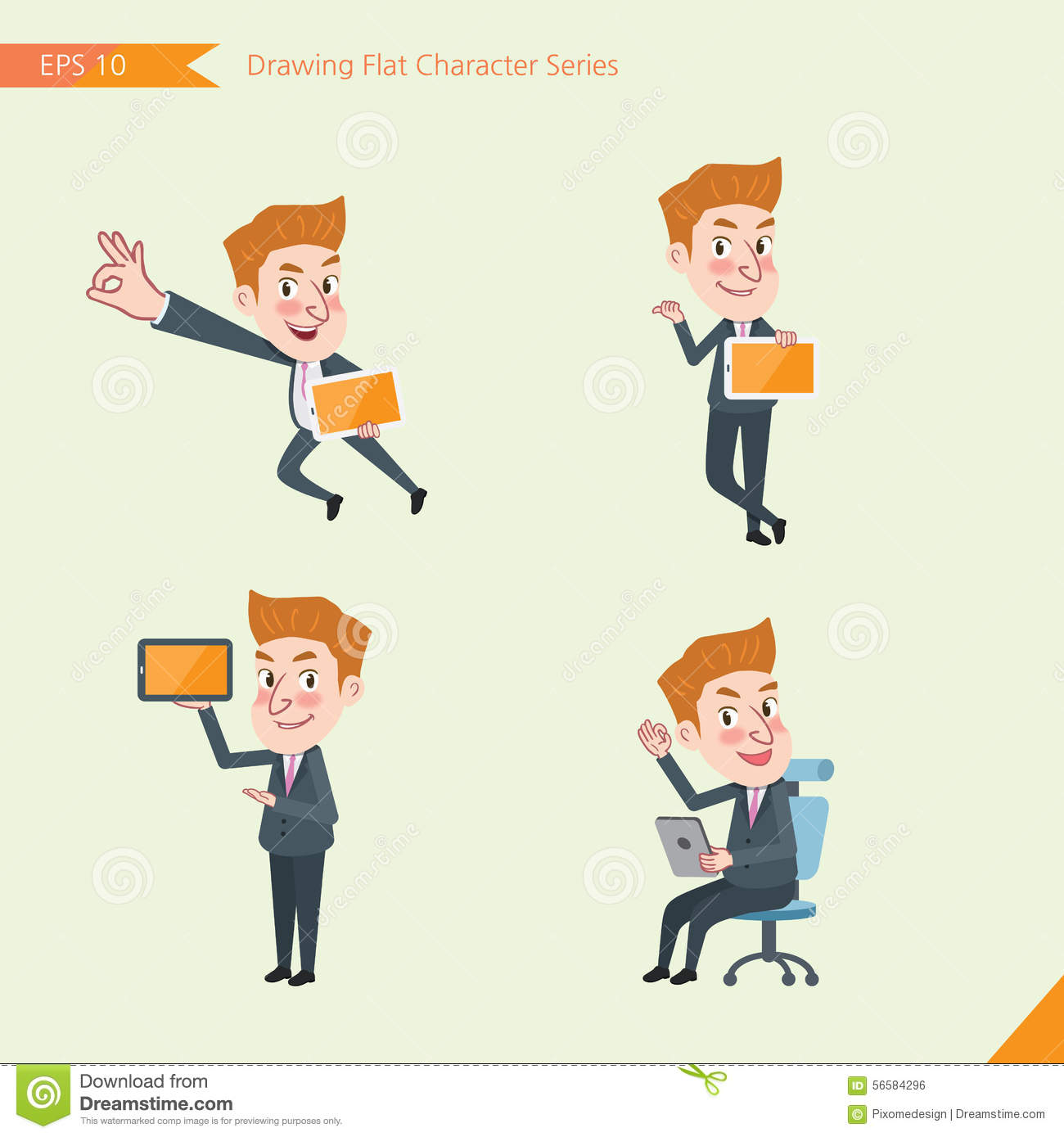 Set Of Drawing Flat Character Style, Business Concept Young Office.
