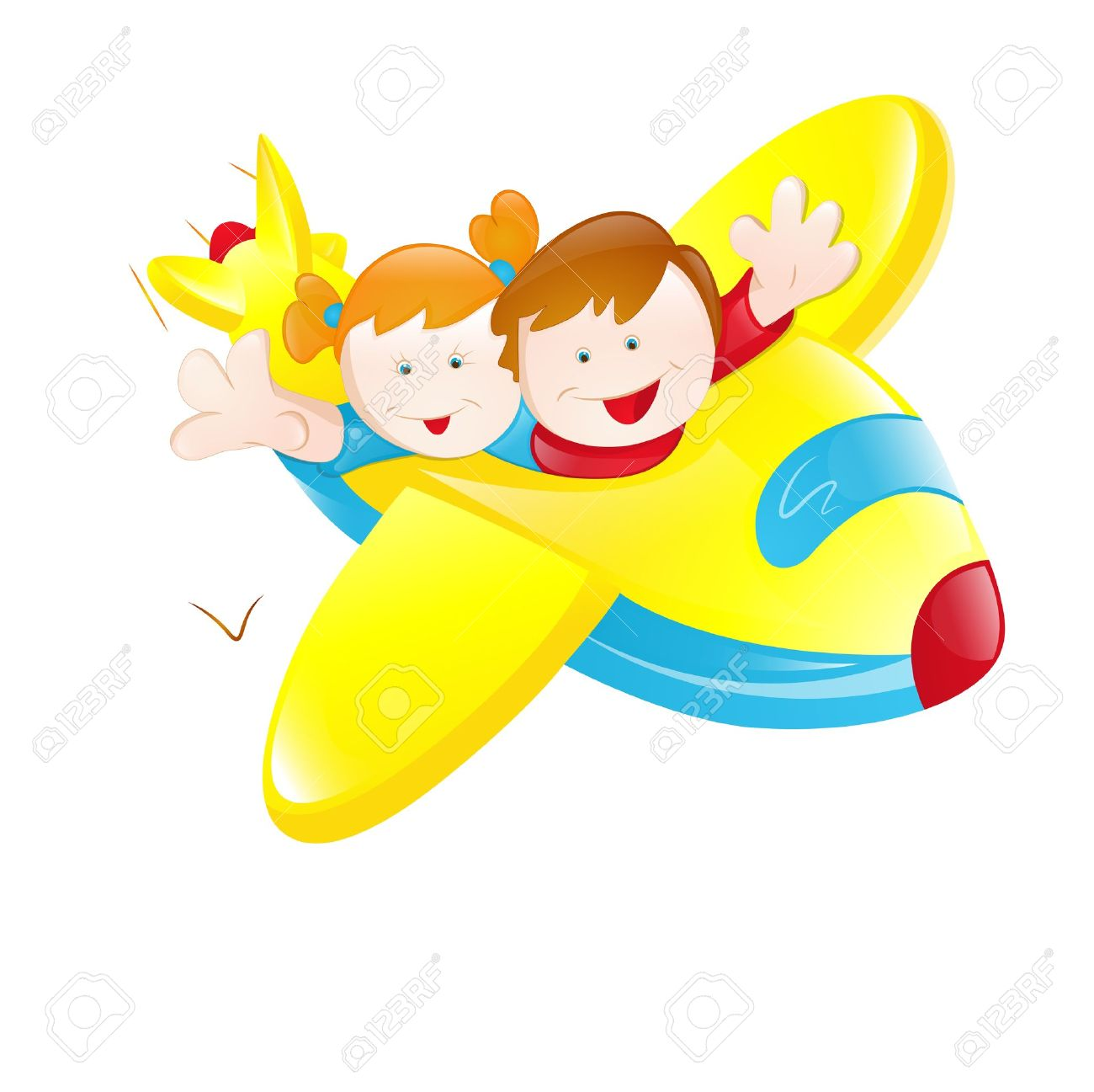 Kids Flying Plane Royalty Free Cliparts, Vectors, And Stock.