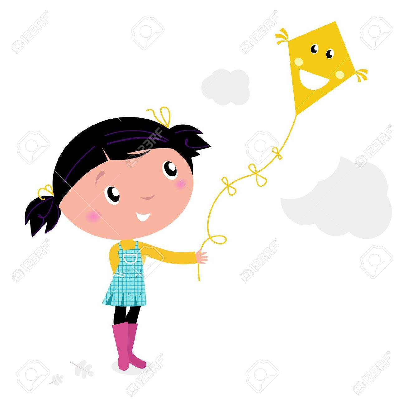 Girl clipart flying a kite.