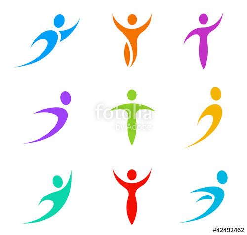 "Abstract icon set. Flying, levitating, rushing activity"" Stock."