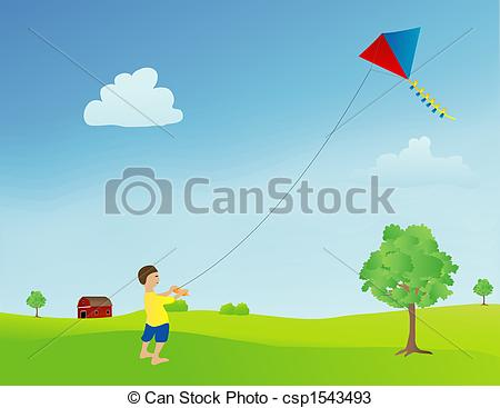 Kite flying boy field outdoor playing activity sunny day.