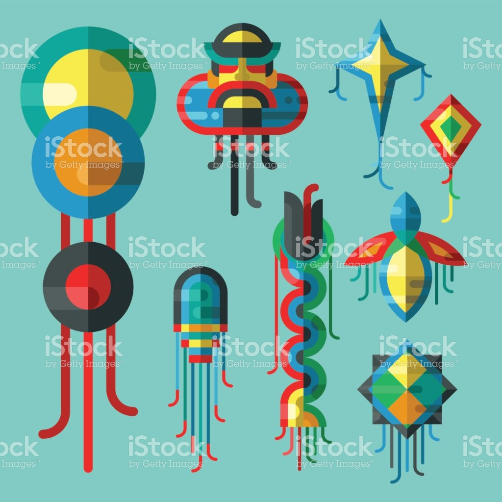Flying Kite Vector Illustration Wind Fun Toy Fly Leisure Happy.