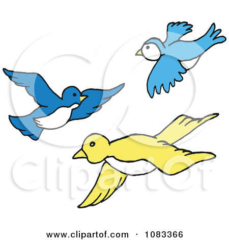 Clipart Blue And Yellow Birds Flying.