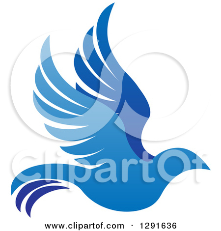 Clipart of a Flying White Peace Dove.