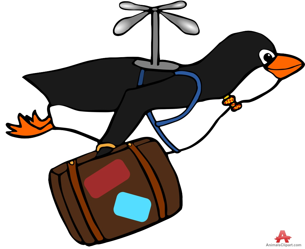 Penguin Fly and Travel Clipart.