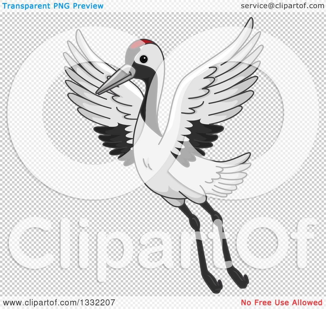 Clipart of a Crane Bird Flying.