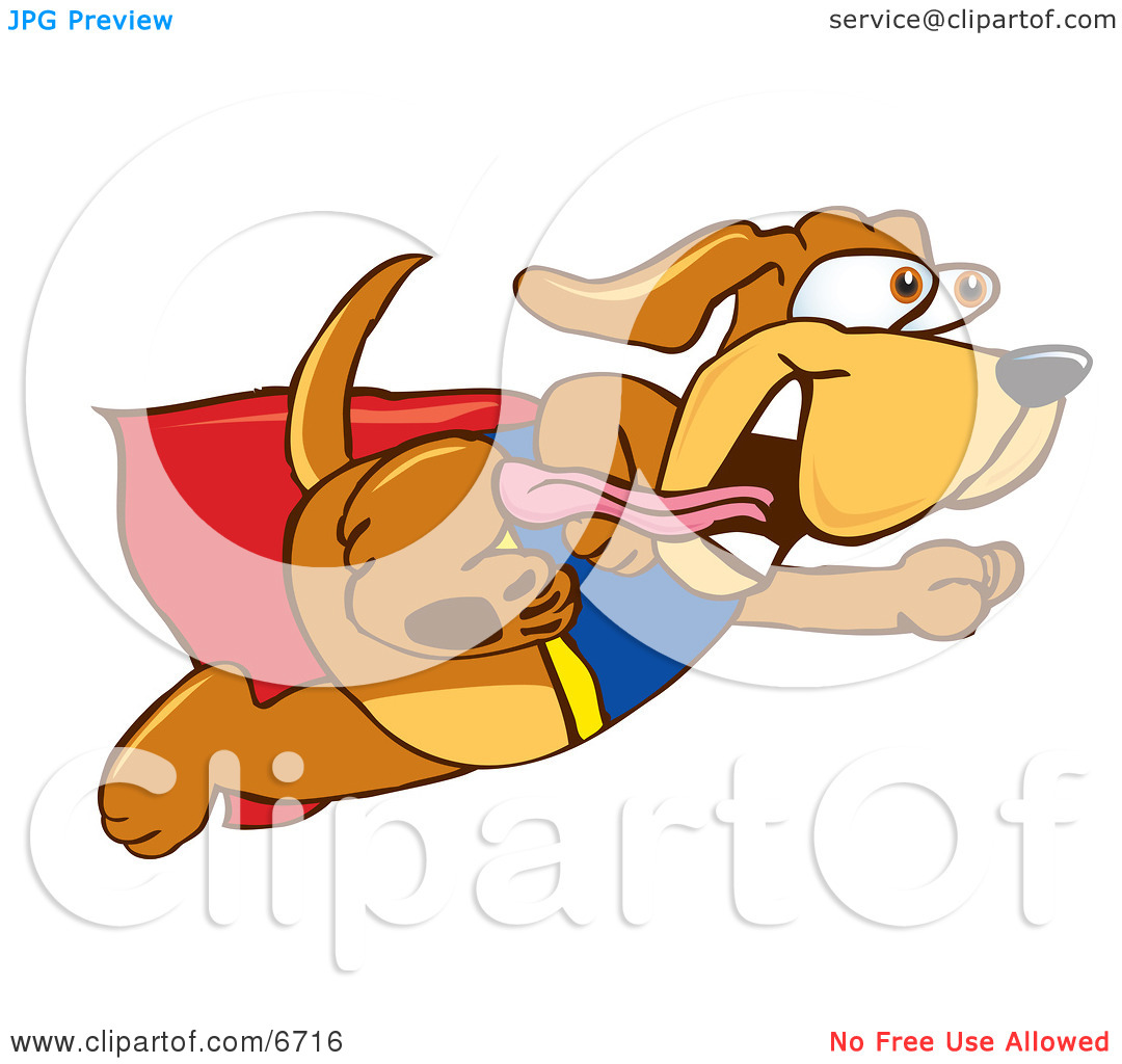 Brown Dog Mascot Cartoon Character Dressed as a Super Hero, Flying.