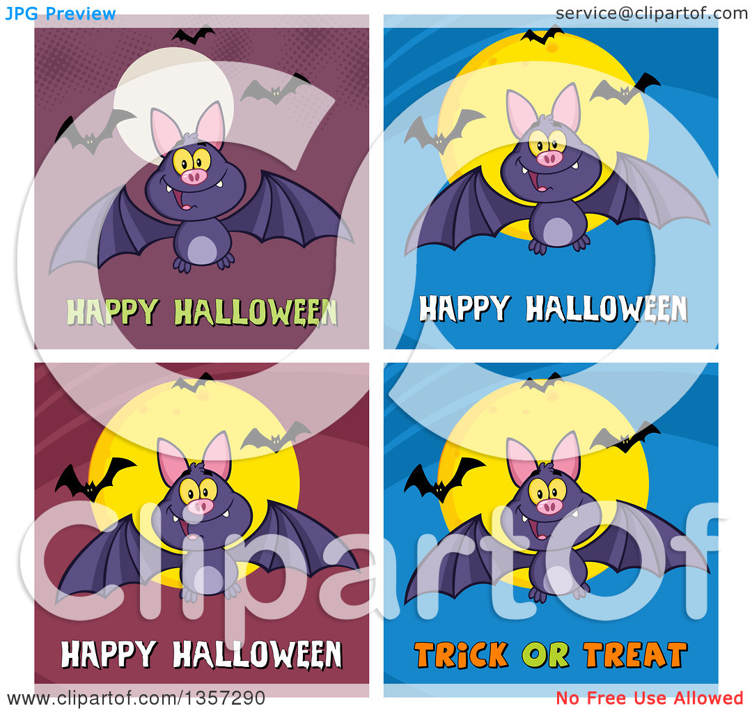 Clipart of Flying Bats with Halloween Greetings.