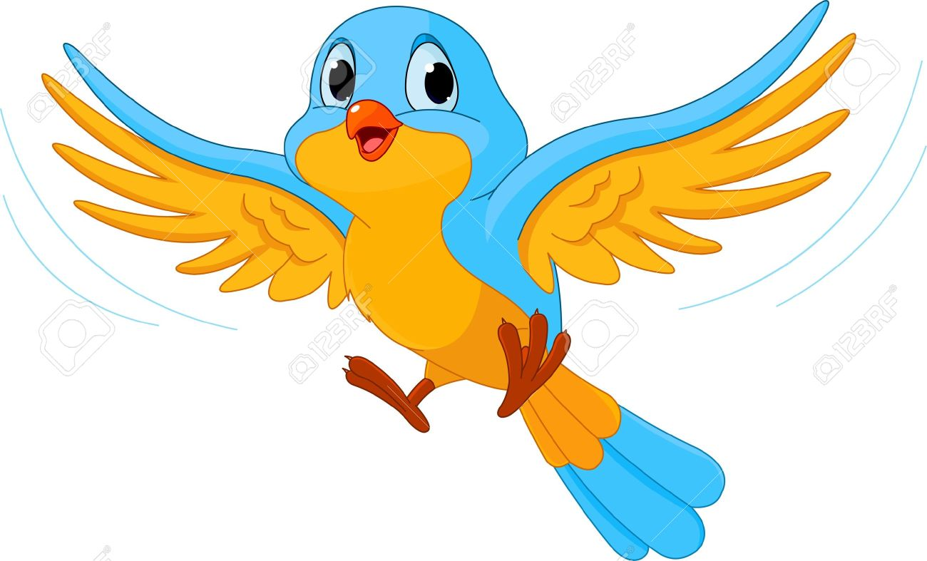Illustration Of Happy Flying Bird Royalty Free Cliparts, Vectors.