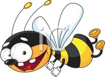 Picture of a Honeybee Flying With a Big Smile In a Vector Clip Art.