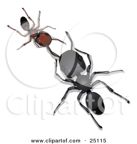 Clipart Illustration of a 3d Ant Flying And Attached To Futuristic.