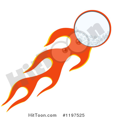 Golf Clipart #1197525: Flying Golf Ball and Flames by Hit Toon.