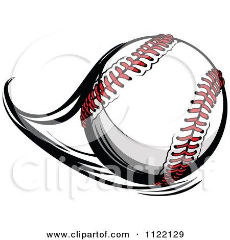 Cartoon Of A Flast Flying Baseball.