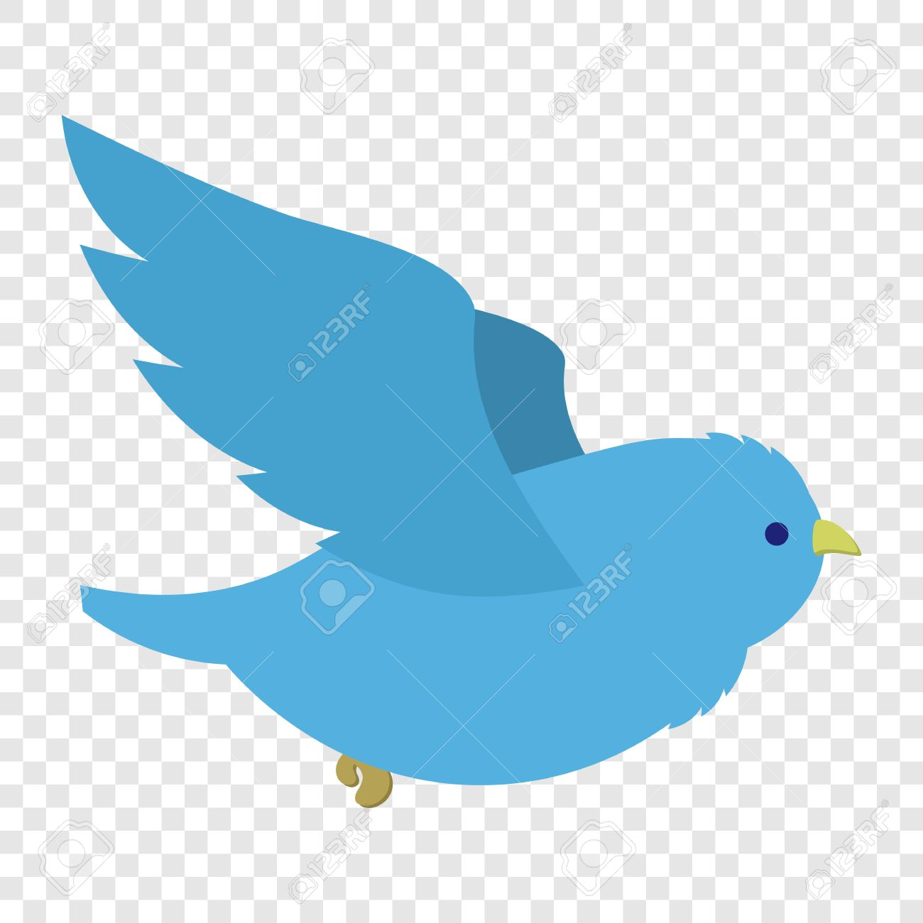 Flying blue bird in cartoon style on transparent background.