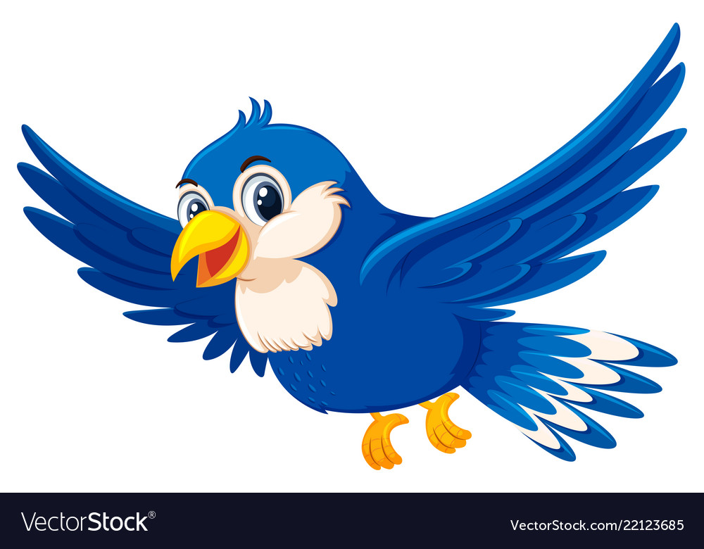 Cute flying blue bird.