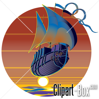 CLIPART FLYING BOAT SUNSET.