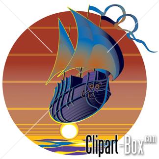 CLIPART FLYING BOAT SUNSET.