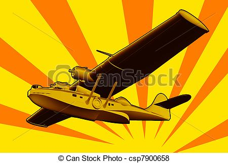 Stock Illustration of Catalina Flying Boat Sea Plane Retro.