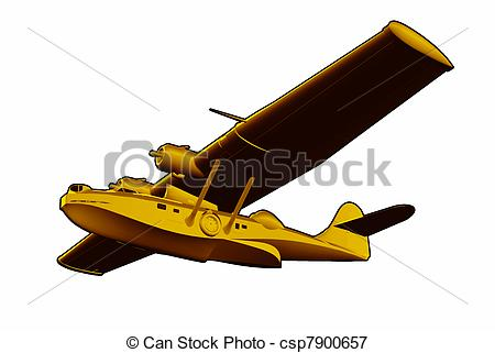 Stock Illustrations of Catalina Flying Boat Sea Plane.