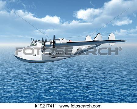 Clipart of Flying Boat Airliner k19217411.